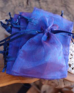 Sheer Organza Drawstring Bags Blue & Burgundy 3x4 (24 bags/pkg)