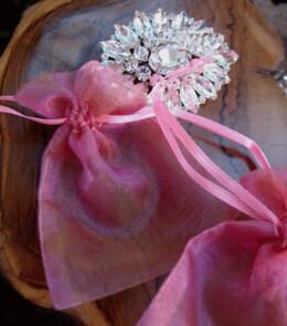 "Sheer Organza Drawstring Bags Fuchsia & Gold 3"" x 4"""
