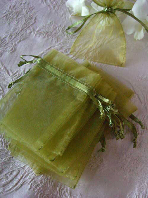 Moss Green Organza Favor Bags 3x4 (Pack of 12)