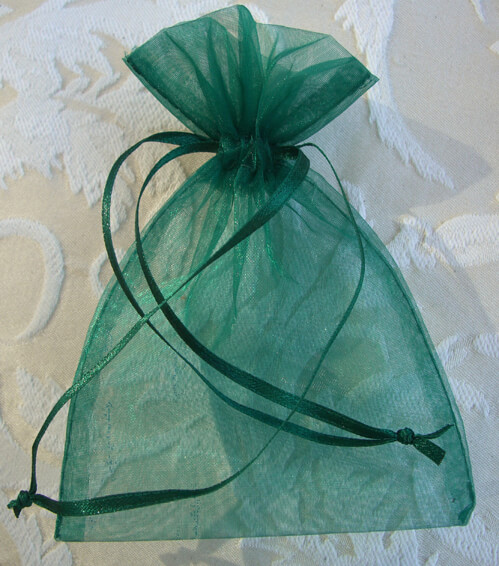 Sheer Organza Drawstring Bags Hunter Green 4 X 6 (10 bags/pkg)