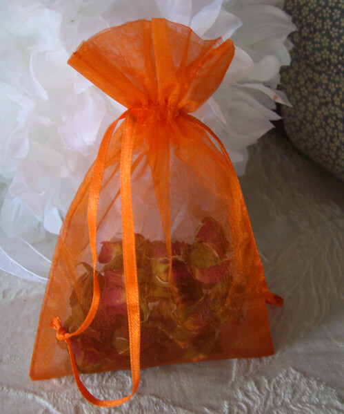 Organza Favor Bags Orange | Pack of 10