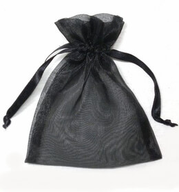 Sheer Organza Drawstring Black 3 x 4 (24 bags)