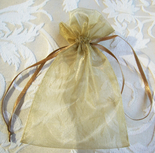 Organza Favor Bags Gold 4x6in (Pack of 10)