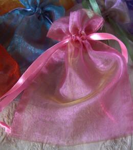 Sheer Organza Drawstring Pink & Gold 4 X 5 ( 24 bags/pkg)