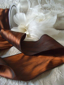 "Brown Moire Satin Wired Ribbon  3"" Width x 27ft"