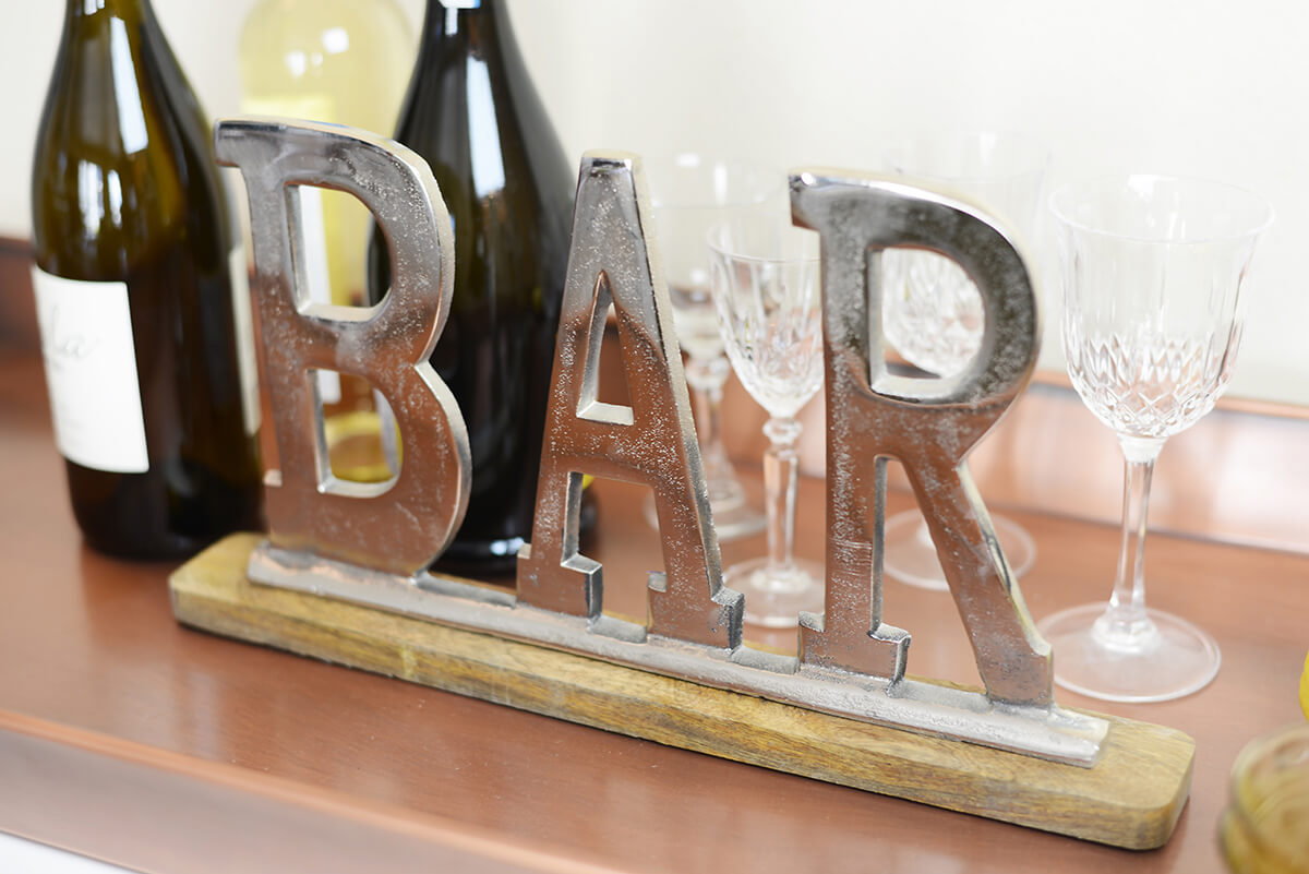 "15"" Metal BAR Sign with Wood Base Sign"
