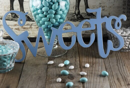 """Sweets"" Sign Blue 17.75in"