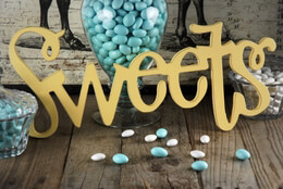 """Sweets"" Table Sign Yellow 18"""