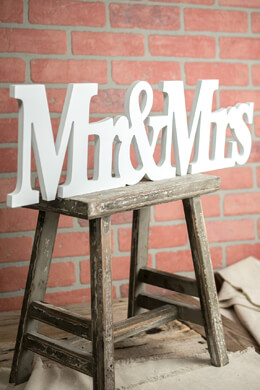 "Mr. & Mrs Wedding Sign 26"" Long"