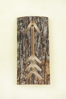 Bark Covered Arrow Sign Wood 11.5 Inch