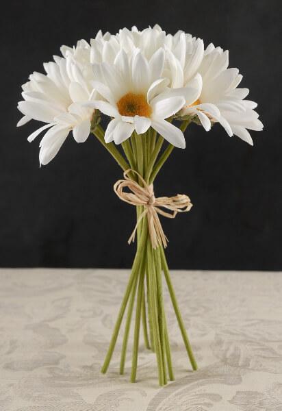 Silk Daisy Bouquet White | 12 flowers