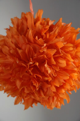 "Silk Flower Ball 6"" Orange with ribbon hanger"