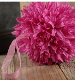 "Silk Flower Ball 6"" Pink with ribbon hanger"