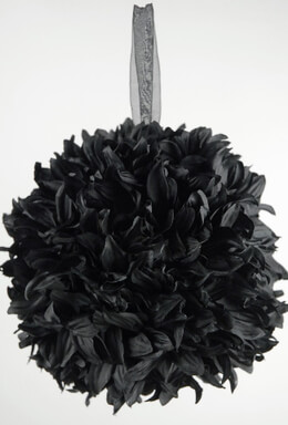 "Silk Flower Ball 8"" Black with ribbon hanger"