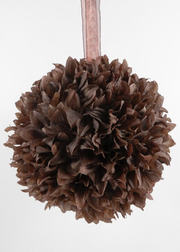 "Large 8"" Brown Cocoa Silk Flower Ball with Ribbon Hanger"
