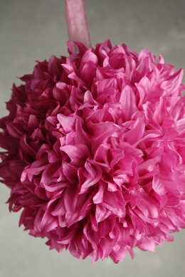 "Silk Flower Ball 8"" Pink with ribbon hanger"