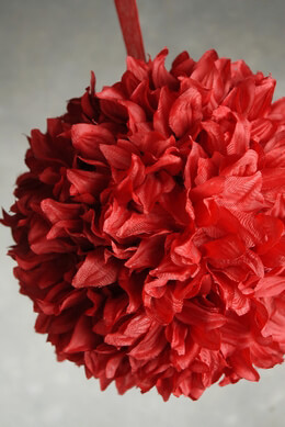 "Silk Flower Ball 8"" Red with ribbon hanger"