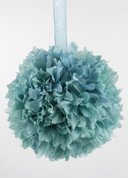 Silk Flower Ball Turquoise 8in