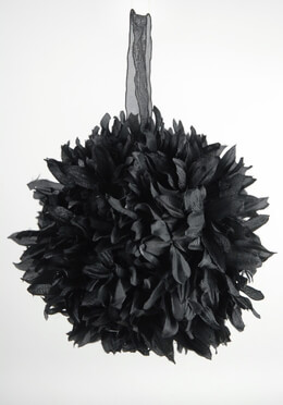 Flower Ball Black Silk 6in