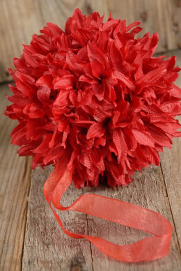 Flower Ball Red Silk 6in