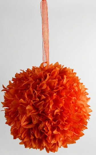 "Silk Flower Balls 8"" Orange with ribbon hanger"