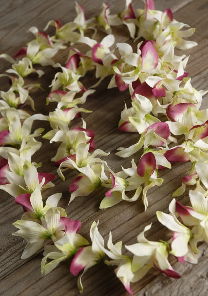Silk Flower Leis Cream & Red Orchids