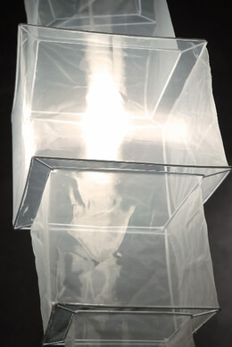 Five Tier Square Silk Lantern 33in.