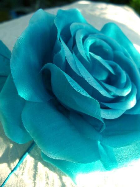 "Silk Millinery Tea Rose 5"" Turquoise"