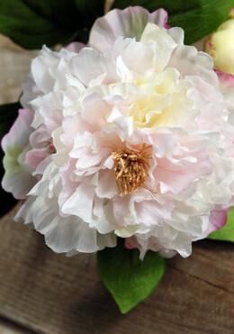 Silk Peony Flowers Pink & White