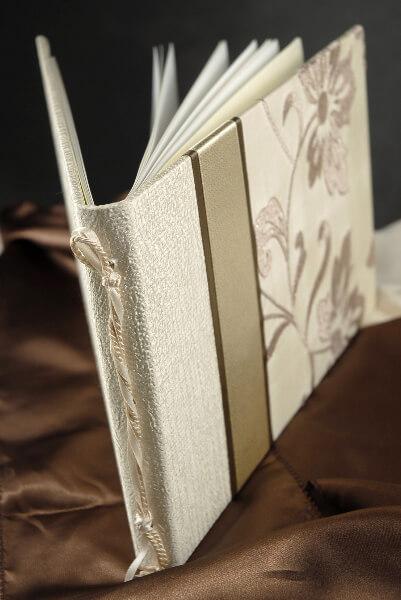 Silk Shantung & Taffetta Lustrous Pearl Embroidered Wedding Guest Book