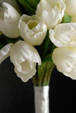 Silk Wedding Bouquet 32 White Tulips