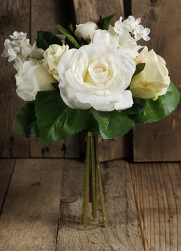 Silk Wedding Bouquets Roses & Hydrangeas White & Cream