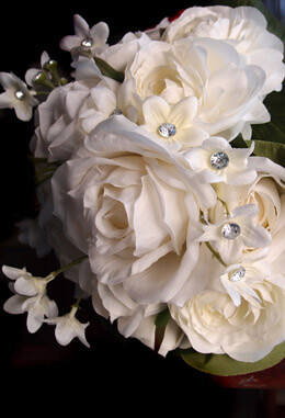 White Rose Bridal Bouquet with Diamond Accents