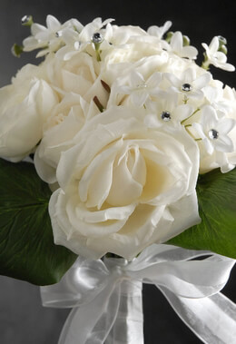 Silk Rose Bouquet White with Crystals