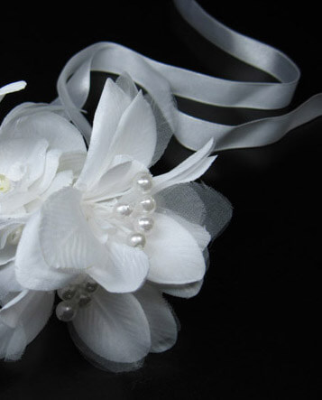 Silk White Orchid on White Satin Ribbon Ties