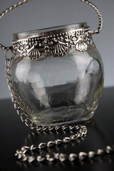 "Silver and Glass 3"" Hanging Candle Holders"