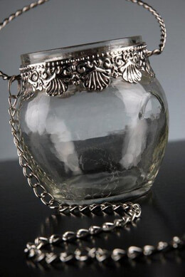 Hanging Candle Holder Glass & Silver