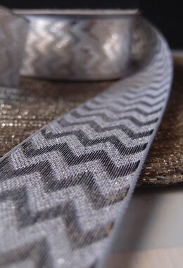 "Silver Metallic Chevron Ribbon 1.5"" x 25 yards"