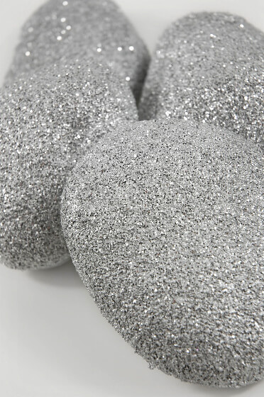 Silver Glitter Faux Rocks (4 Rocks)