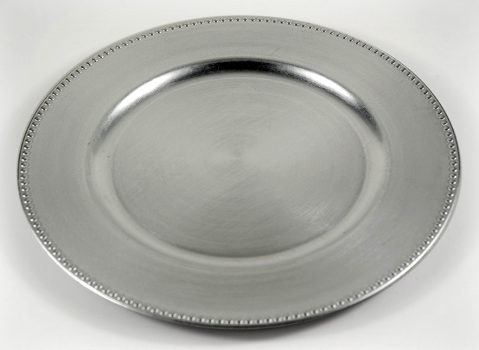 6 Charger Plates Silver w/ Beaded Edge  13in