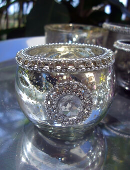 Silver Mercury Glass Candleholders with Rhinestones