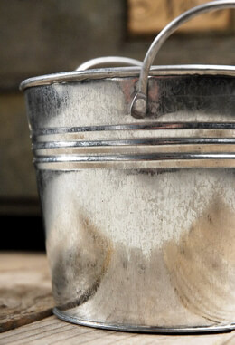 Galvanized Bucket in Silver 5in