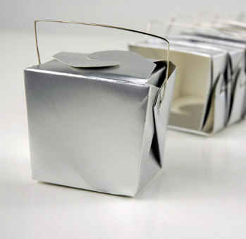 12 Tiny Silver Takeout Boxes 8oz