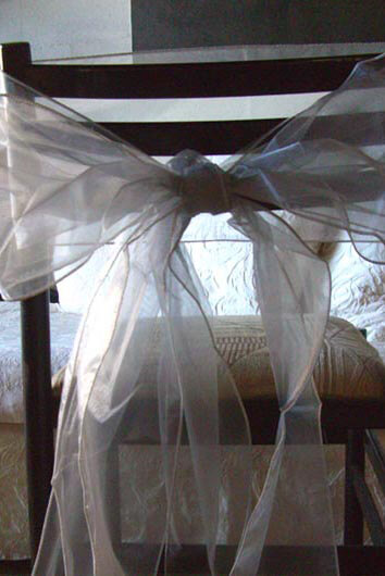 "Silver Organza Chair Sashes 8"" Wide  Pack of 10"
