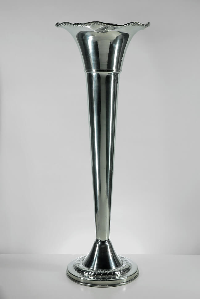 Aluminum Silver Fluted Vase 22in