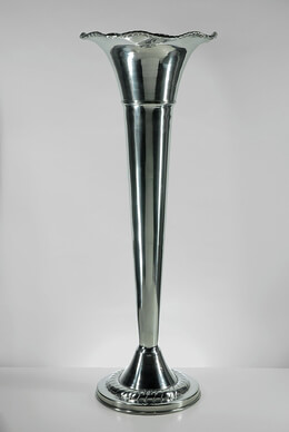 Aluminum Silver Fluted Vase