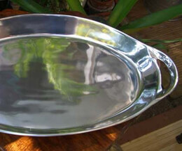 Silver Plated Large Heavy Serving Platter with Handles 21in