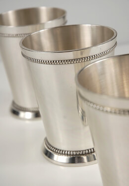 "Mint Julep Cups 4"" Silver Plated"