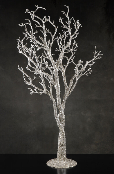 "Silver Glitter 38"" Potted Tree, Event Decor"