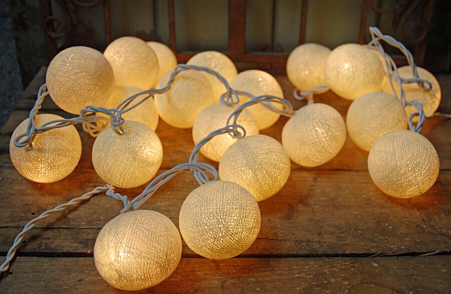 sisal cotton ball lantern string lights natural. Black Bedroom Furniture Sets. Home Design Ideas